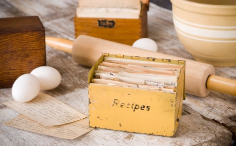 Image of recipe box and baking ingredients